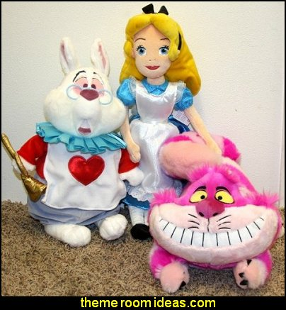 Alice in Wonderland Plush Doll  White Rabbit and Cheshire Cat