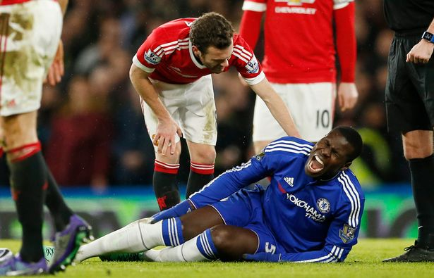 Agony: Zouma lies on the pitch after sustaining the injury