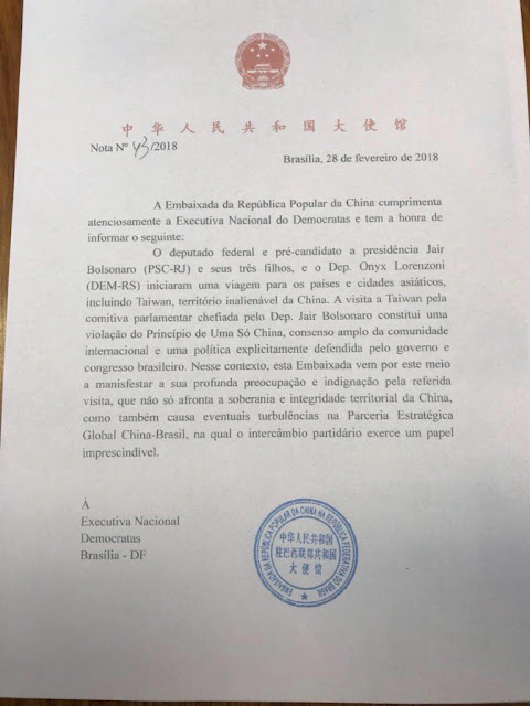 carta da china reclamando de bolsonaro