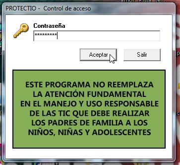Formulario de acceso a Protectio