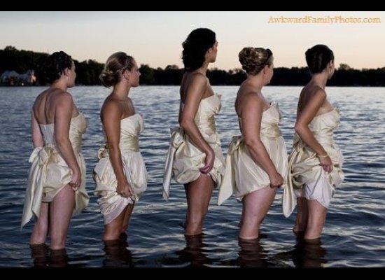awkward bridesmaids in water