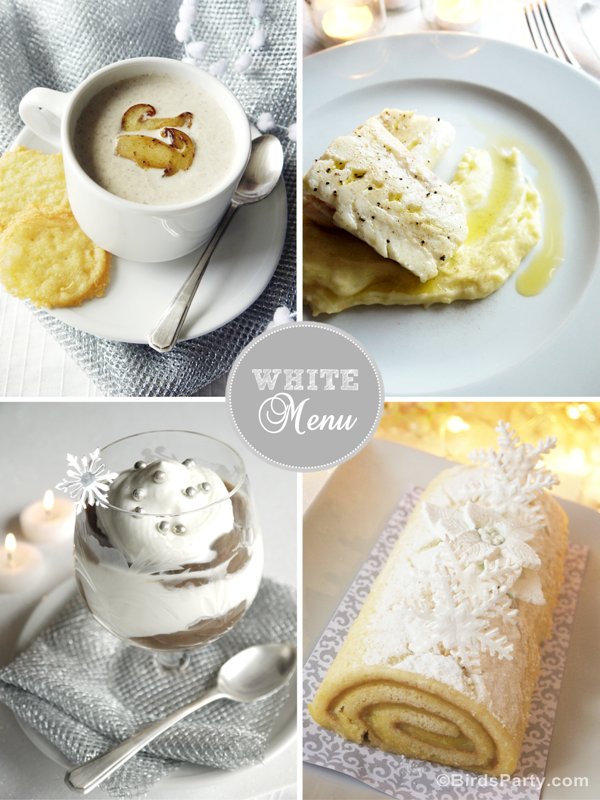 Monochromatic White Christmas Dinner Menu & Recipes - BirdsParty.com