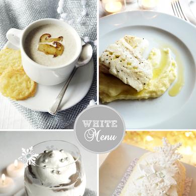 Monochromatic White Christmas Dinner Menu & Recipes