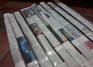 lipatan koran bekas