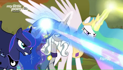 Luna, Starswirl and Celestia looking angry and firing magic beams to the bottom right of the screen
