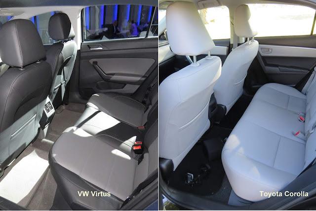 Toyota Corolla x Volkswagen Virtus - espaço traseiro