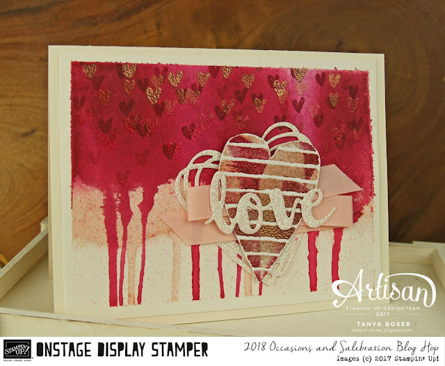 Watercolor drips of love with Heart Happiness from the 2018 Stampin' Up! Occasions Mini~Tanya Boser as Display Stamper