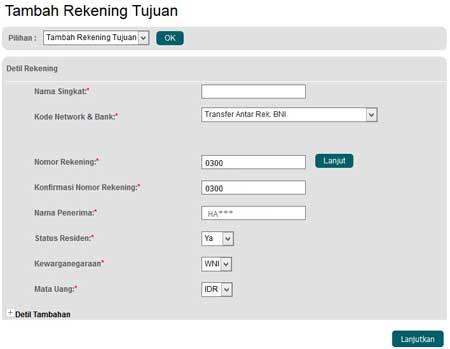 Cara Menambah Rekening Tujuan Transfer BNI Internet Banking
