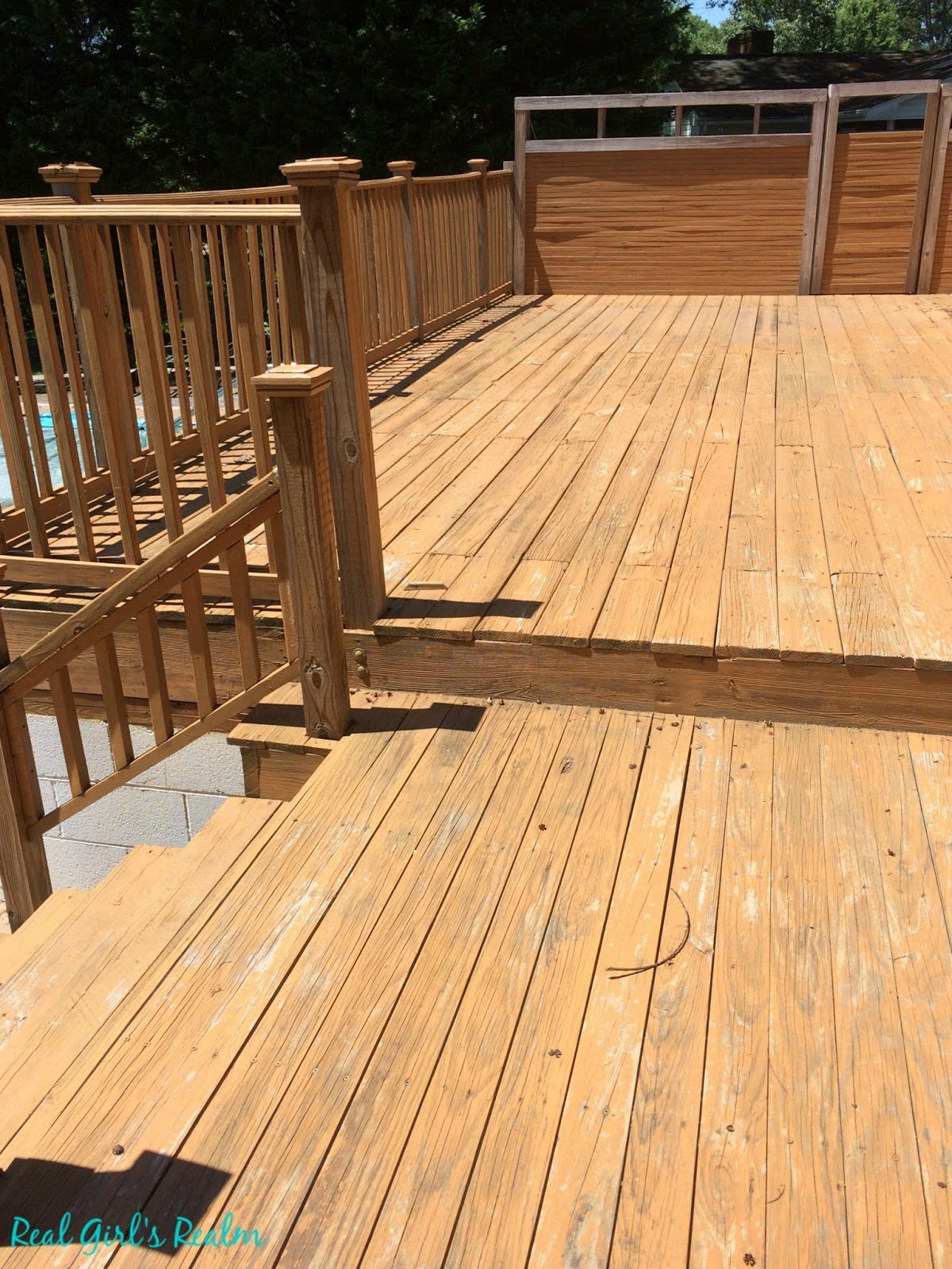 Real girls realm cleaning and staining a wood deck bring your wood deck back to life in a weekend by cleaning and staining it deck before baanklon Images