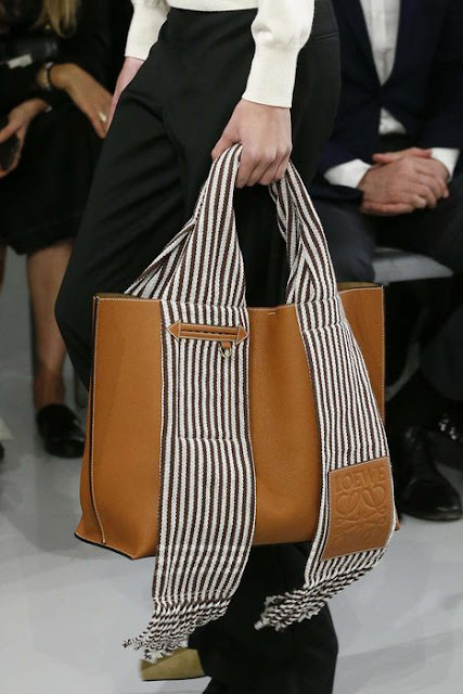 Loewe Handbag in Brown and Stripe Color