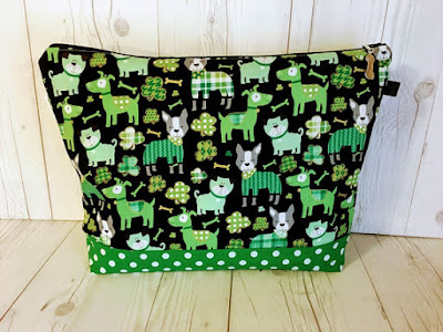 medium sized knitting project bag for St. Patrick's Day and dog lovers