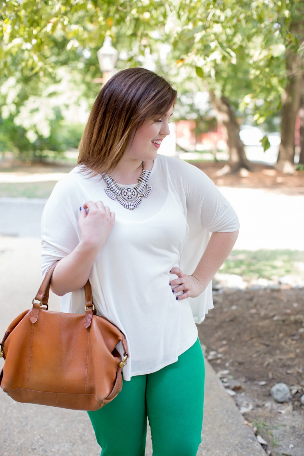 Rebecca Lately White Flowy Top Green Skinny Work Pants Suede Pumps Madewell Kensington Satchel