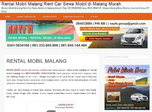 Screenshot Situs Web Rental Mobil Malang di NAYFA Trans