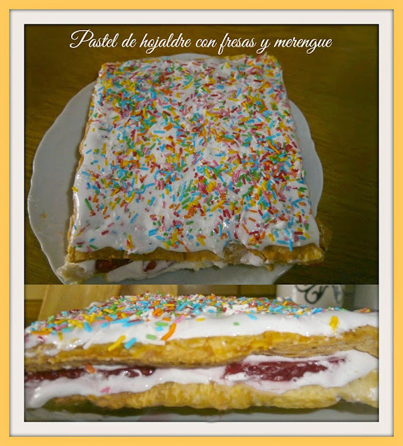 pastel de hojaldre con fresas y merengue