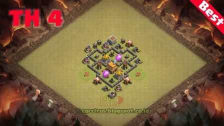 Formasi Clash of Clans Town Hall 4 War Base Layout