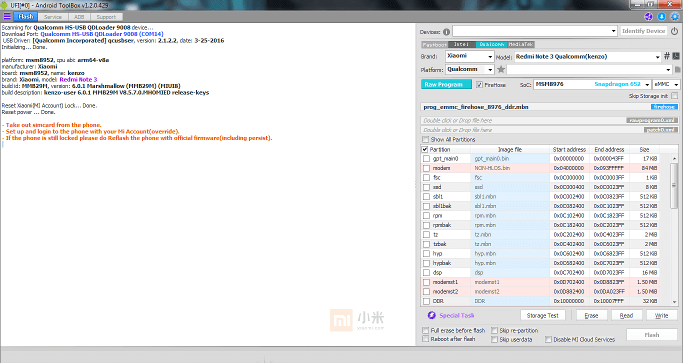 Remove Micloud Redmi Note 3 Pro Kenzo by UFI Box - DROID6   Tutorial