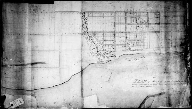 Map: 1831 Plan of Survey of the Lands for Lease adjacent to the York Garrison in the Township of York Home District, by James G. Chewett
