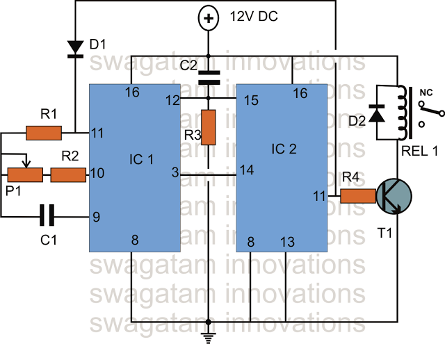 simple Long Duration Timer using IC 4017 and IC 4060