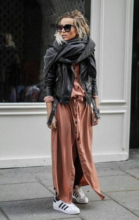 how to style a scarf : black moto jacket + sneakers + maxi shirt dress