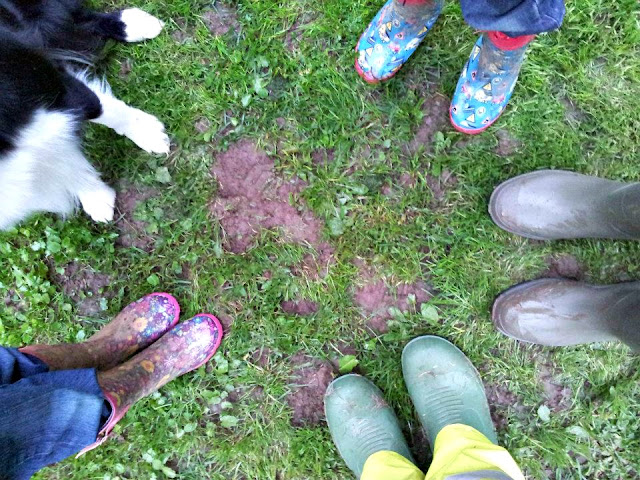 Our Family in Wellies with Spartan our Border Collie
