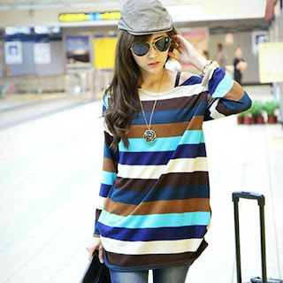 Color Striped Long Sleeve - Ethereallyme Fashion Online