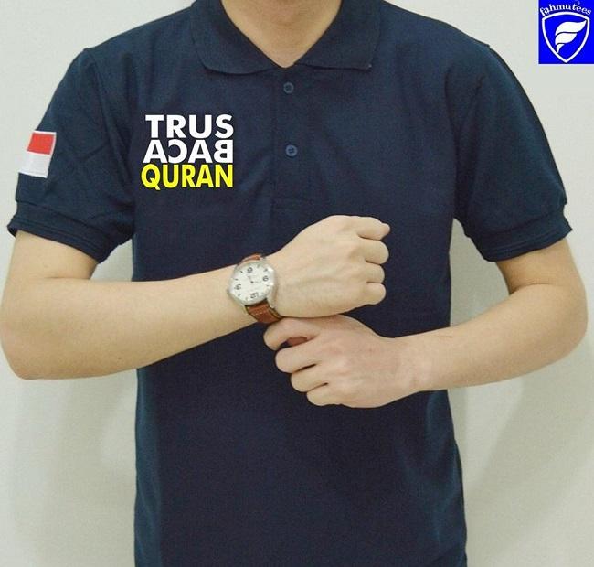 Kaos muslim Polo Dakwah Islami Murah Trus Baca Quran