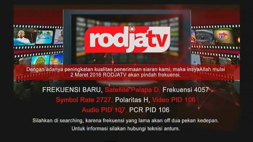 Siaran Rodja TV Pindah Frekuensi