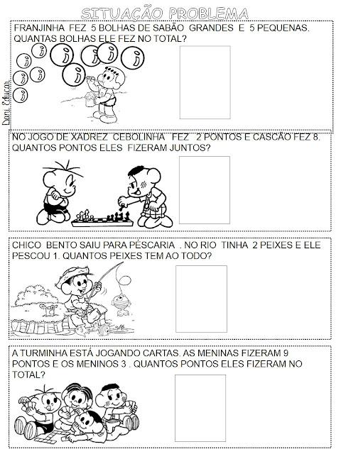 Probleminhas de adição com desenhos ilustrado da Turma da Mônica. Atividades de Matemática.