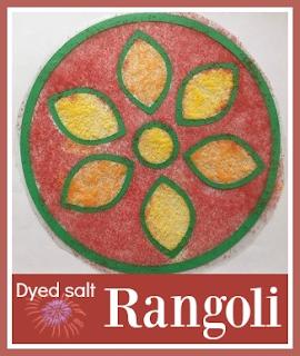 How to make dyed salt rangoli