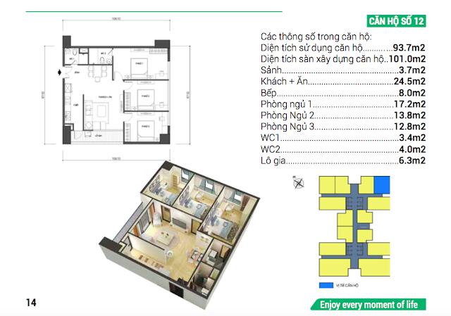 Thiết kế căn hộ số 12 Housinco Grand Tower