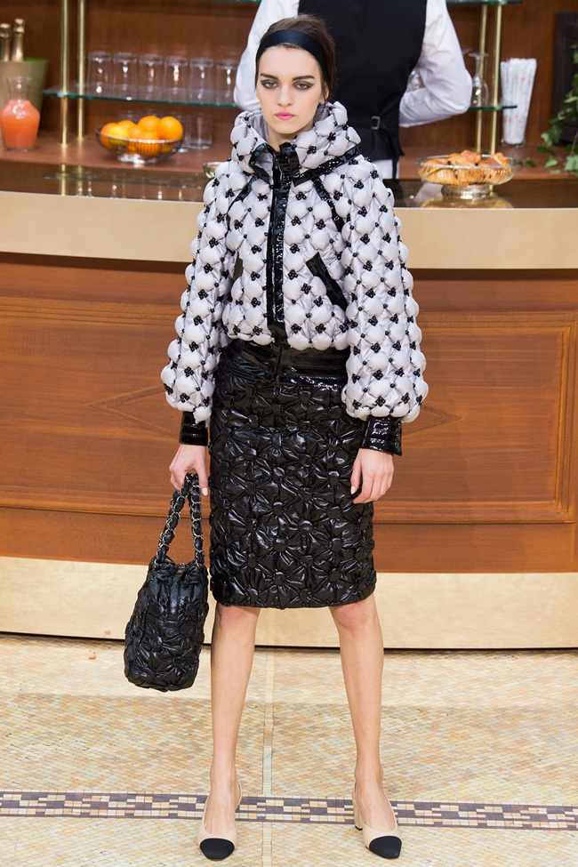 Chanel 2015 AW Silver Bomber Down Jacket on Runway