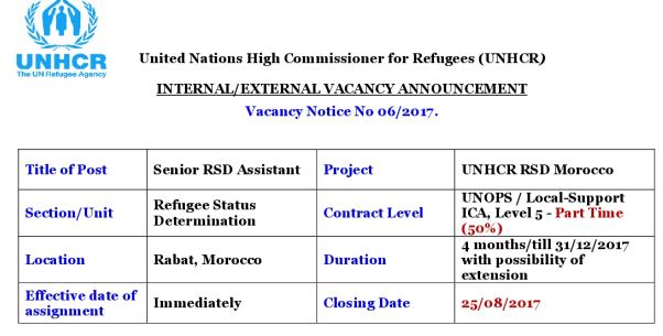 المفوضية السامية للأمم المتحدة للاجئين بالمغرب: الترشيح لتوظيف 2 أطر. آخر أجل هو 25 غشت 2017