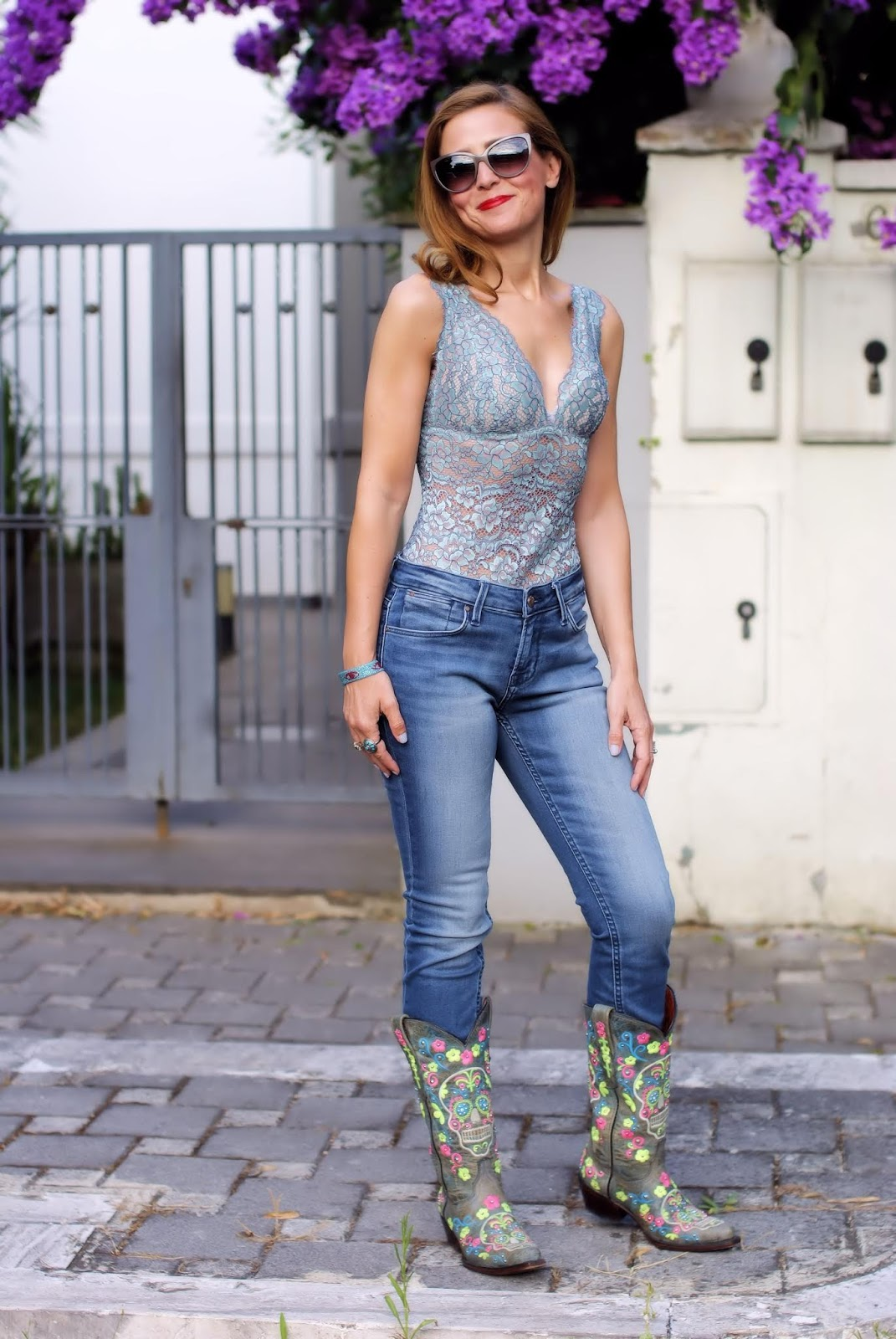 Sexy lace bodysuit and cowgirl style on Fashion and Cookies fashion blog, fashion blogger style