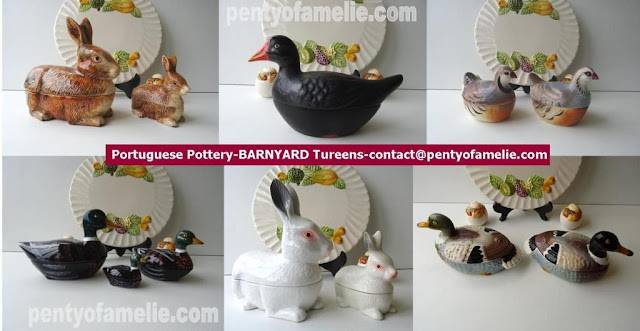 Nice Banyard faience tureens.Brown and white Rabbits, Black Moorhen,Partridges, Rare Mallard Ducks family figural.Portuguese pottery.