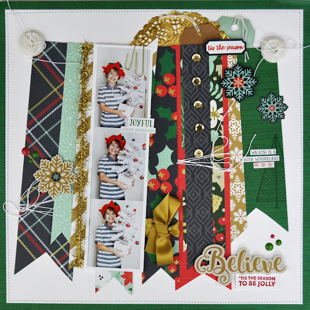"""Believe"" Christmas Scrapbooking layout by Jen Gallacher for Scrapbook & Cards Today Magazine. #scrapbooking #christmas #jengallacher #sctmagazine"
