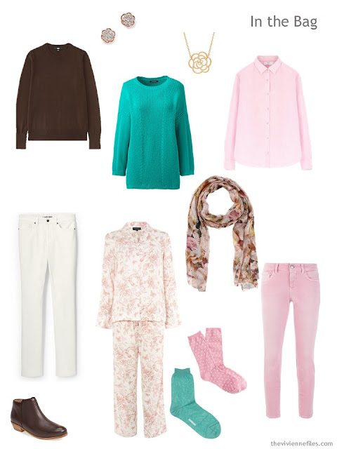 travel capsule wardrobe in brown, green, pink and cream