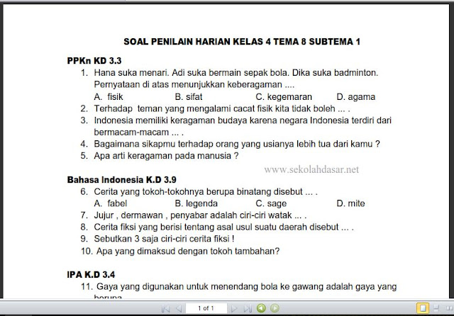 Soal Ulangan Harian K-13 Kelas 4 Tema 8 Subtema 1