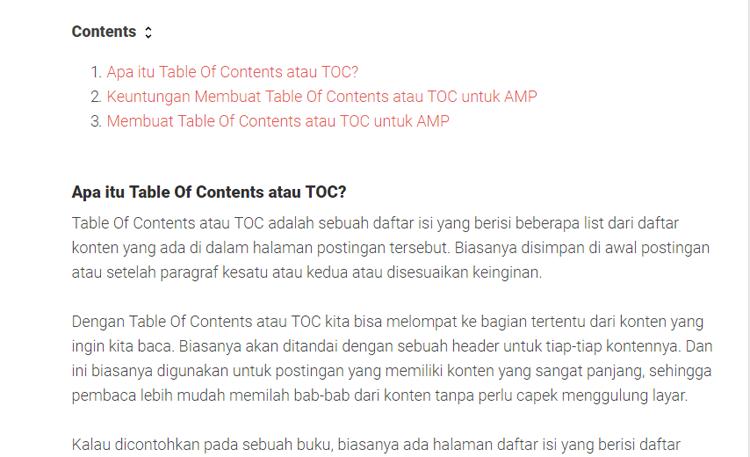 Membuat Table Of Contents Di Postingan Blog AMP HTML