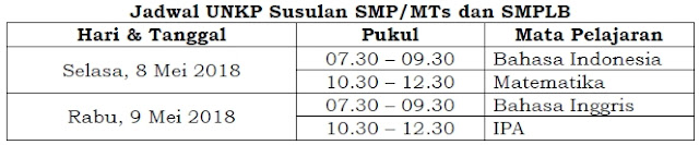 Jadwal UNKP SMP, MTs, dan SMPLB 2018 Susulan