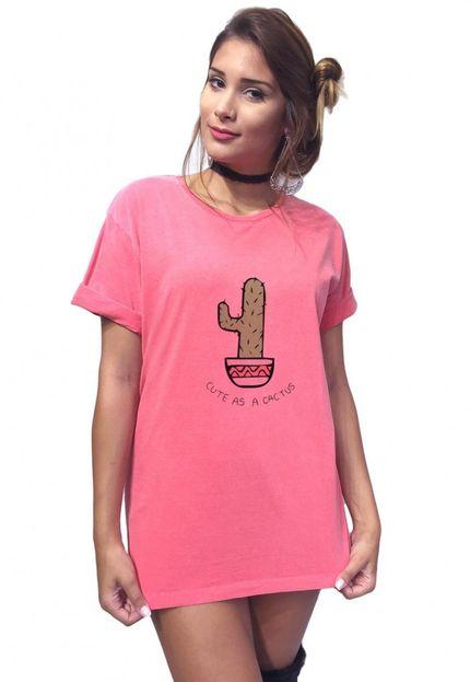 Camiseta Joss Estonada Estampa Cactus,caimento reto e solto gola careca