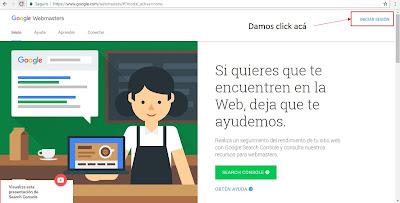 Pantalla de iniciar sesion en Google Webmaster Tools