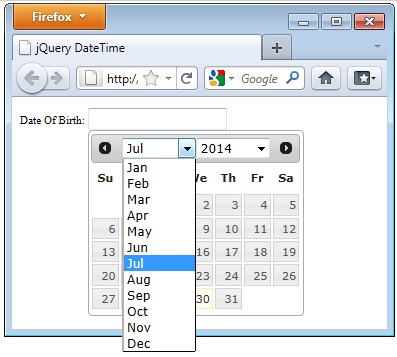 jQuery DatePicker Calendar With Dropdown Month and Year in