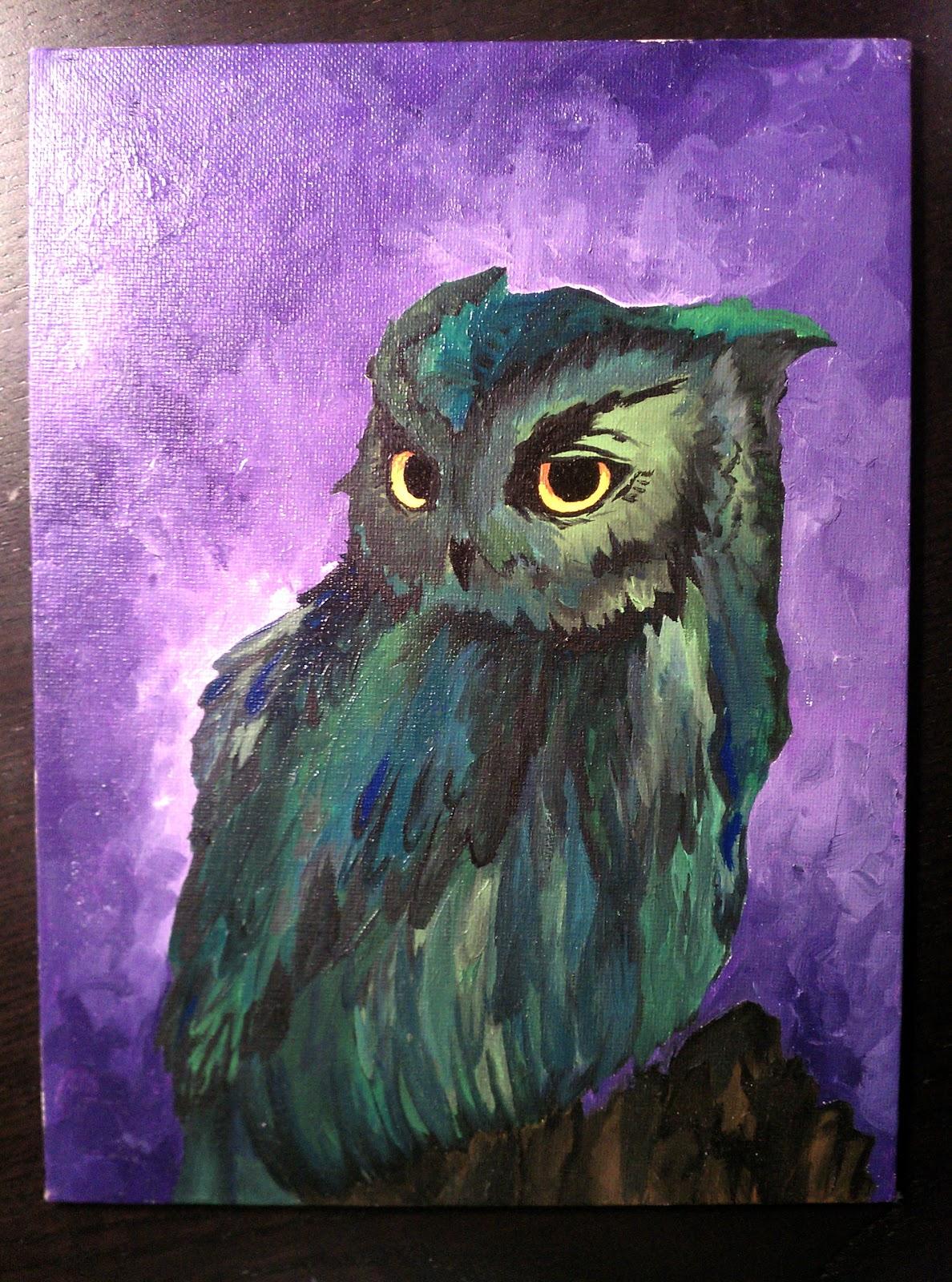 Art, Etc.: Owl Oil PaintingSimple Owl Painting