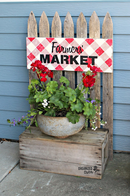 Junk Garden Style Planter Shelf with Buffalo Check Sign #stencil #oldsignstencils