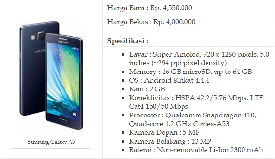 1. HP Android Ram 2GB Samsung Galaxy A5