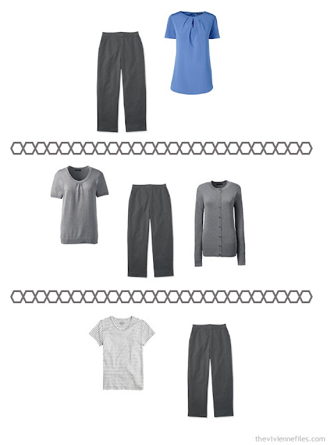 three ways to wear charcoal grey capris or cropped pants