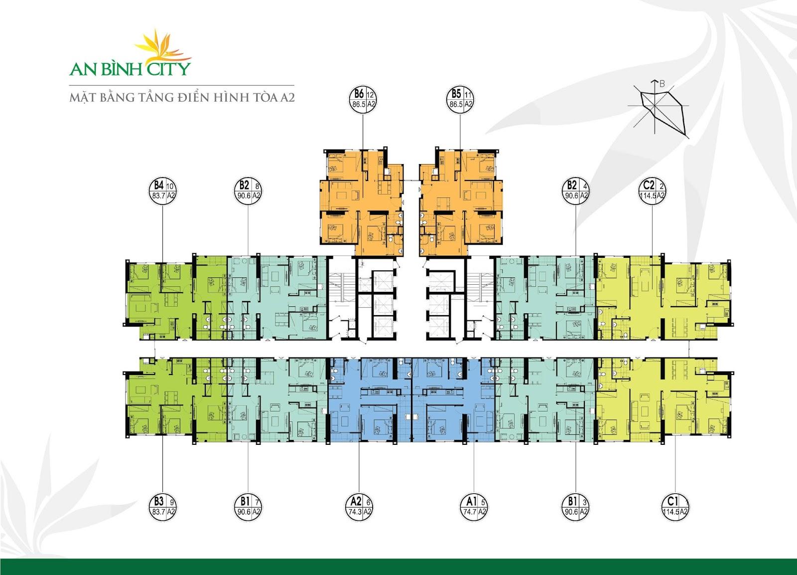 Mặt bằng chi tiết toà A2 tại chung cư An Bình City - 232 Phạm Văn Đồng