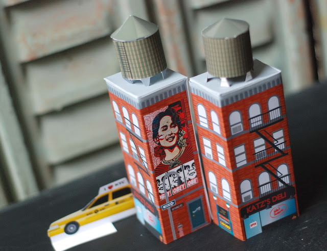 diy kid mini building new york paper toy