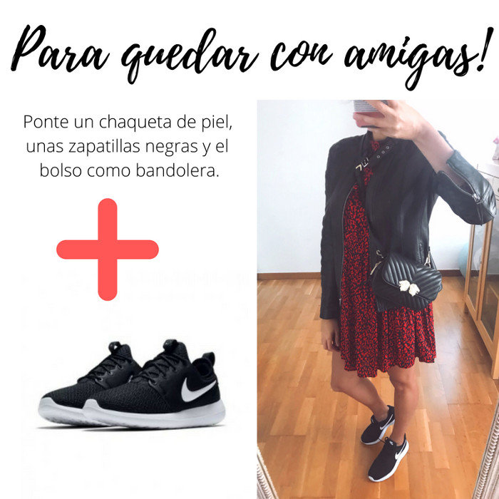 zapatillas sneakers nike vestido volantes zara bolso riñonera zara negro