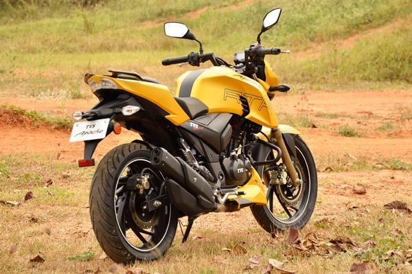 TVS Apache RTR 200 4V yellow rear image